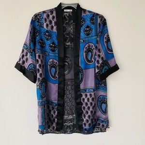Other - Black Blue Purple Patterned Kimono